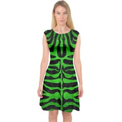 Skin2 Black Marble & Green Brushed Metal Capsleeve Midi Dress