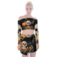Halloween Candy Keeper Off Shoulder Top With Mini Skirt Set
