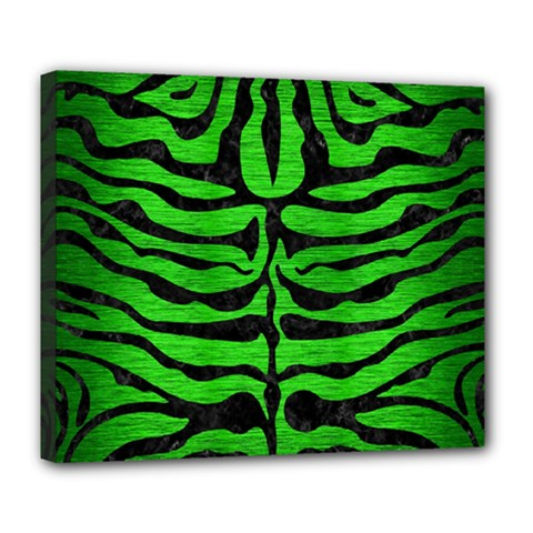 Skin2 Black Marble & Green Brushed Metal (r) Deluxe Canvas 24  X 20
