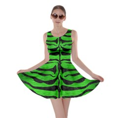 Skin2 Black Marble & Green Brushed Metal (r) Skater Dress