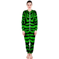 Skin2 Black Marble & Green Brushed Metal (r) Onepiece Jumpsuit (ladies)
