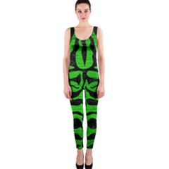 Skin2 Black Marble & Green Brushed Metal (r) Onepiece Catsuit