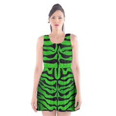 Skin2 Black Marble & Green Brushed Metal (r) Scoop Neck Skater Dress