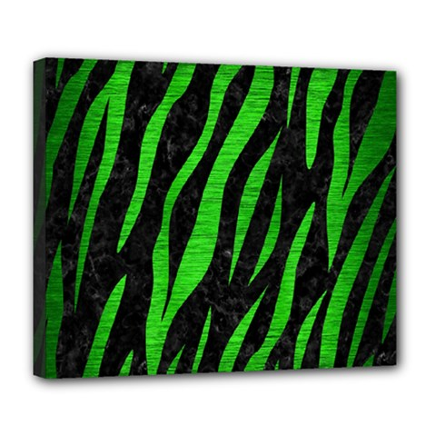 Skin3 Black Marble & Green Brushed Metal Deluxe Canvas 24  X 20