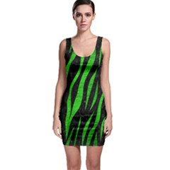 Skin3 Black Marble & Green Brushed Metal Bodycon Dress