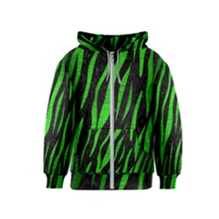 Skin3 Black Marble & Green Brushed Metal Kids  Zipper Hoodie