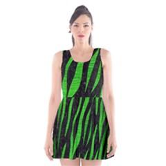 Skin3 Black Marble & Green Brushed Metal Scoop Neck Skater Dress
