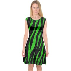 Skin3 Black Marble & Green Brushed Metal Capsleeve Midi Dress