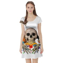 Halloween Candy Keeper Short Sleeve Skater Dress