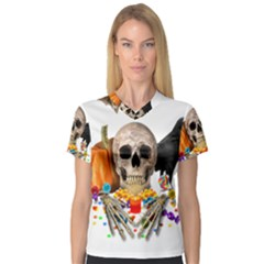 Halloween Candy Keeper V Neck Sport Mesh Tee