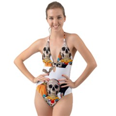 Halloween Candy Keeper Halter Cut Out One Piece Swimsuit