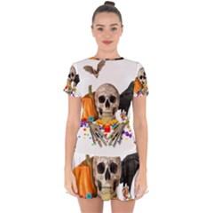 Halloween Candy Keeper Drop Hem Mini Chiffon Dress