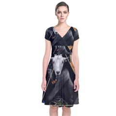 Spiritual Goat Short Sleeve Front Wrap Dress