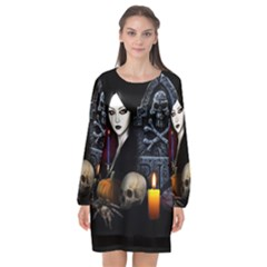 Vampires Night  Long Sleeve Chiffon Shift Dress
