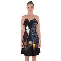 Vampires Night  Ruffle Detail Chiffon Dress