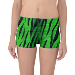 Skin3 Black Marble & Green Brushed Metal (r) Boyleg Bikini Bottoms