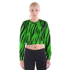 Skin3 Black Marble & Green Brushed Metal (r) Cropped Sweatshirt