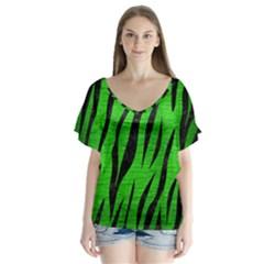 Skin3 Black Marble & Green Brushed Metal (r) V Neck Flutter Sleeve Top