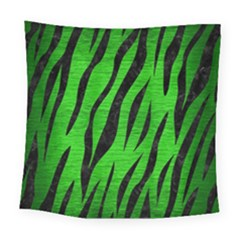 Skin3 Black Marble & Green Brushed Metal (r) Square Tapestry (large)