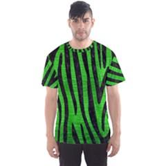Skin4 Black Marble & Green Brushed Metal Men s Sports Mesh Tee