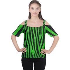 Skin4 Black Marble & Green Brushed Metal Cutout Shoulder Tee
