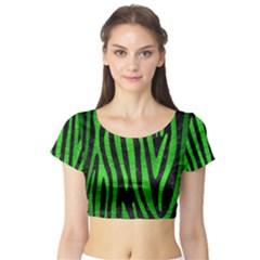 Skin4 Black Marble & Green Brushed Metal (r) Short Sleeve Crop Top