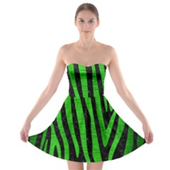 Skin4 Black Marble & Green Brushed Metal (r) Strapless Bra Top Dress