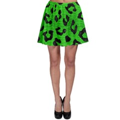 Skin5 Black Marble & Green Brushed Metal Skater Skirt