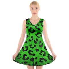 Skin5 Black Marble & Green Brushed Metal V Neck Sleeveless Skater Dress