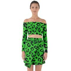 Skin5 Black Marble & Green Brushed Metal Off Shoulder Top With Skirt Set