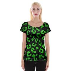 Skin5 Black Marble & Green Brushed Metal (r) Cap Sleeve Tops