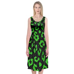Skin5 Black Marble & Green Brushed Metal (r) Midi Sleeveless Dress