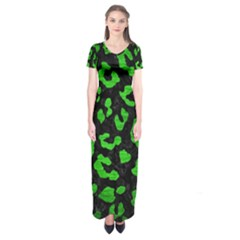 Skin5 Black Marble & Green Brushed Metal (r) Short Sleeve Maxi Dress