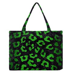 Skin5 Black Marble & Green Brushed Metal (r) Zipper Medium Tote Bag