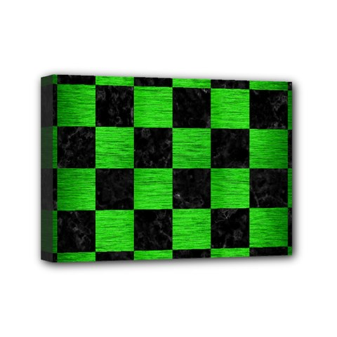 Square1 Black Marble & Green Brushed Metal Mini Canvas 7  X 5