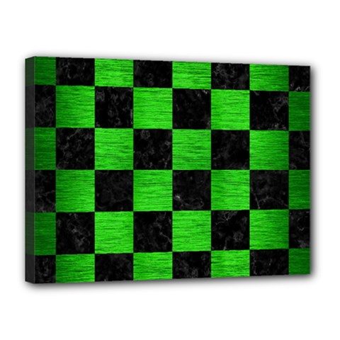 Square1 Black Marble & Green Brushed Metal Canvas 16  X 12