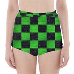 Square1 Black Marble & Green Brushed Metal High Waisted Bikini Bottoms