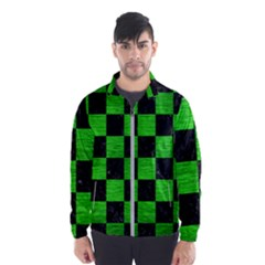Square1 Black Marble & Green Brushed Metal Wind Breaker (men)