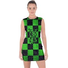 Square1 Black Marble & Green Brushed Metal Lace Up Front Bodycon Dress