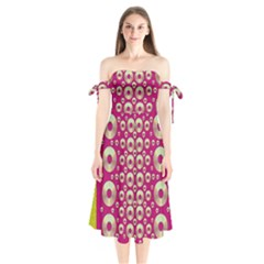 Going Gold Or Metal On Fern Pop Art Shoulder Tie Bardot Midi Dress