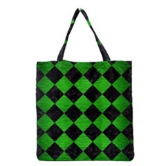 Square2 Black Marble & Green Brushed Metal Grocery Tote Bag