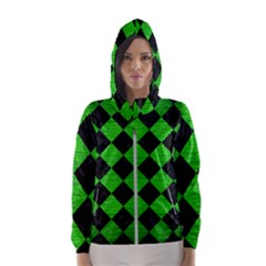 Square2 Black Marble & Green Brushed Metal Hooded Wind Breaker (women)