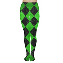 Square2 Black Marble & Green Brushed Metal Women s Tights