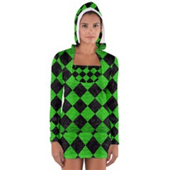 Square2 Black Marble & Green Brushed Metal Long Sleeve Hooded T Shirt