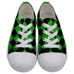 Square2 Black Marble & Green Brushed Metal Kids  Low Top Canvas Sneakers