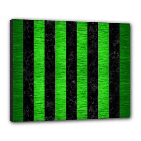 Stripes1 Black Marble & Green Brushed Metal Canvas 20  X 16