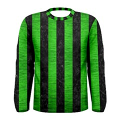 Stripes1 Black Marble & Green Brushed Metal Men s Long Sleeve Tee