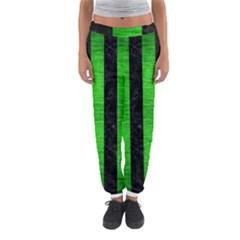Stripes1 Black Marble & Green Brushed Metal Women s Jogger Sweatpants
