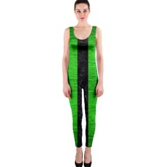Stripes1 Black Marble & Green Brushed Metal Onepiece Catsuit