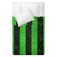 Stripes1 Black Marble & Green Brushed Metal Duvet Cover Double Side (single Size)